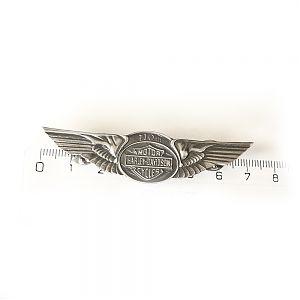 Байкерская атрибутика, значок серебряный Harley-Davidson, чернение.