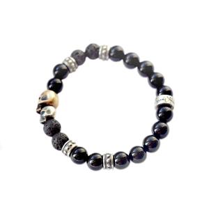 Браслет серебряный, бронза, чернение, шары зделани из природного агата и вулканической лавы. Размер шаров 8 мм.