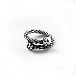 Кольцо женское серебряное трос череп, чернение.