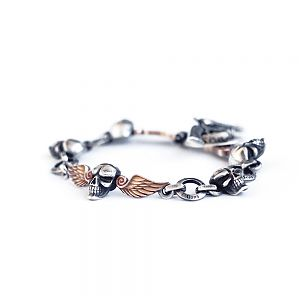 Браслет серебряный, чернение, крылья золотые.