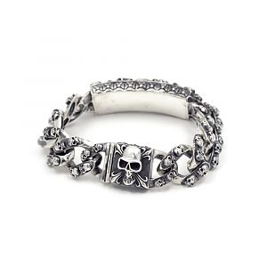 Браслет серебряный с черепами, чернение.