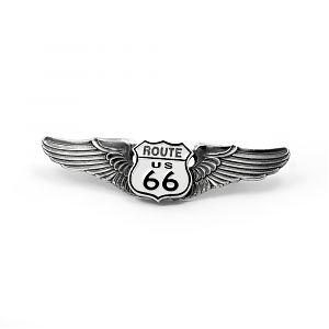 Значок серебряный ROUTE 66, чернение.