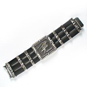 Браслет серебряный SUZUKI Hayabusa, чернение. С каучуком.