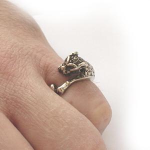 Байкерская атрибутика-Байкерская кольцо серебряное Пантера, чернение.