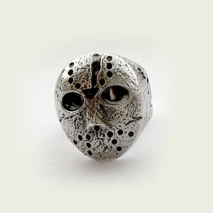 Байкерская атрибутика-Байкерский перстень Кольцо серебряное, чернение. Хоккейная маска Джейсона.