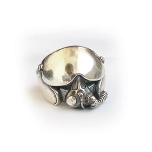 """Кольцо серебряное """"лётный шлем"""", чернение."""